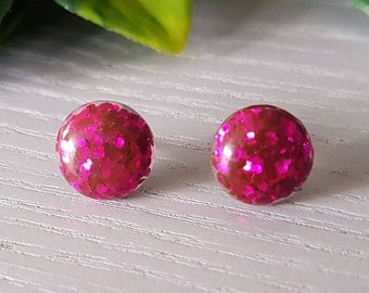 Pink Glitter Resin Stud Earrings 12mm - Hypo-Allergenic Surgical Steel