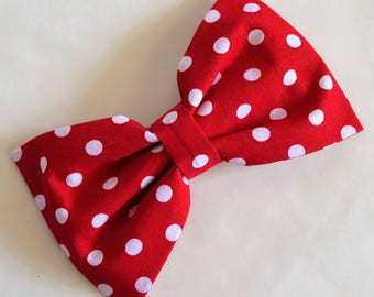 Large Red and White Polka Dot Hair Bow