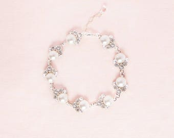 Celestial Pearl Cluster Bracelet, Wedding Bracelet, Bridal Bracelet, Pearl Bracelet, Pearl and Crystal Bracelet, Pearl & Crystal Bracelet