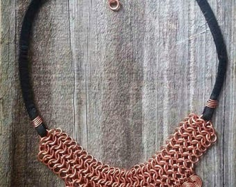 Copper chain maille, chain mail, necklace choker with black leather and spirals