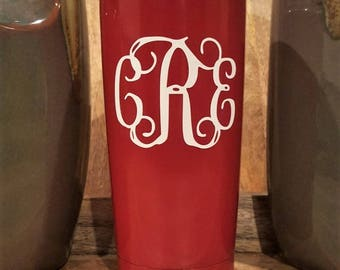 Personalized Powder Coated Tumbler (Mug). Vine Monogram Decal. Choose decal color, tumbler color & size. Perfect for gift giving.