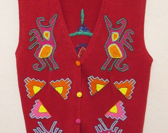 X-E-S-NY size M artsy fun red sweater vest with beaded figures front and back
