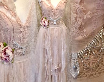 Boho wedding dress rustic,bridal gown rose,beach wedding dress rose,open back wedding dress,boho wedding blush,rustic wedding dress,bohemian