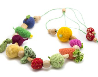 Crochet babywearing necklace, sensory necklace, teether teeth, baby nursing toy, baby shower gift, eco-friendly Baby toys - MiniMom's