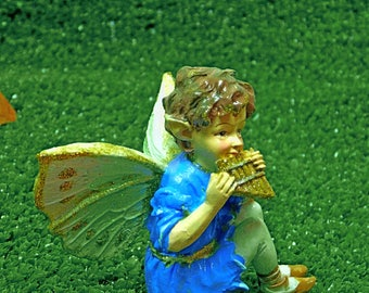 BOY FAIRY FIGURINE with Miniature Flute Boy Fairy with Pan-Flute Sparkly Forest Fairy Miniature Golden Flute Musical Boy Fairy Bench Option