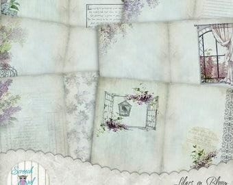 "Junk Journal Kit, Journal Pages 5"" x 7"", Digital Journal, Paper Craft Supplies, Instant Digital Download- 'Lilacs in Bloom'"