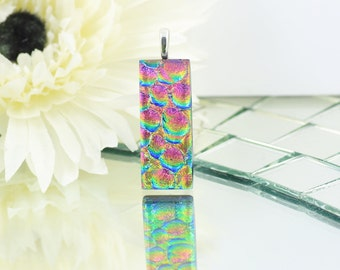 Small Fused Glass Pendant - Dichroic Glass Jewellery - Necklace - Cerise Pink, Green and Golden Yellow - Fused Glass Jewelry.  JBT582