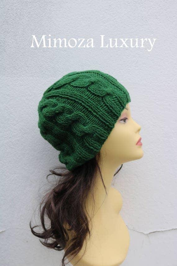 Pine Green women's Beanie hat, Hand Knitted Hat in pine green beanie hat, knitted men's, women's beanie hat, winter beanie, green ski hat