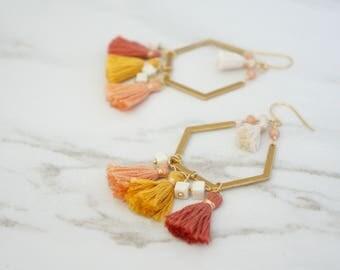 Statement Earrings, Tassel Earrings, Warm Colors, Fashion Jewelry, Handmade everyday jewelry, Woman gift, Trendy jewelry, Geometric Earrings