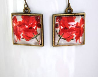 Red Geranium Flower Floral Earrings Antique Brass Finish Pierced Ear Dangle Earrings