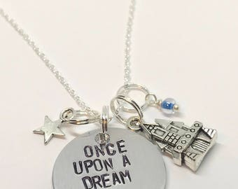 "Sleeping Beauty Inspired Hand-Stamped Necklace - ""Once Upon a Dream"""