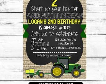 John Deere Birthday Invitation Etsy - John deere 2nd birthday party invitations