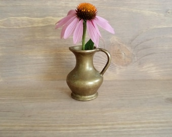 Vintage small Bronze Pitcher Small Heavy Solid Brass Pitcher Small Bronze Jug Italian Brass Vase Old Bronze Jug