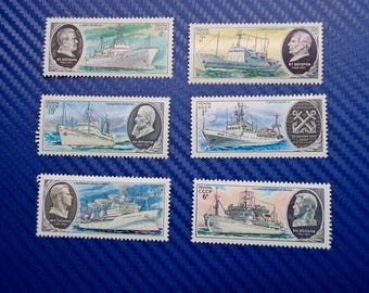 Set of 6 Soviet Postage Stamps - USSR Ship Stamps - 1979 Postage Stamps Collection - 6 Vintage Post Stamps with Soviet Ships - Nautical