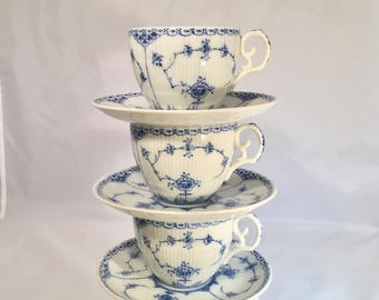Set of 4 Cups and Saucers by Lipper & Mann 'Blue Fjord' Pattern    Set of 4