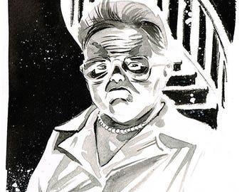 POLTERGEIST - Tangina (Zelda Rubinstein) original ink sketch 80s Cult Horror Classic