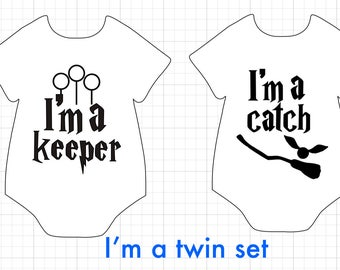 Harry Potter twin onesies // Keeper and catch