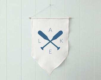 Lake Banner, Lake House Decor, Boat Oars Decor, Lake Wall Flag, Linen Banner, Lake Wall Hanging, Lake Wall Banner, Lake Linen Decor
