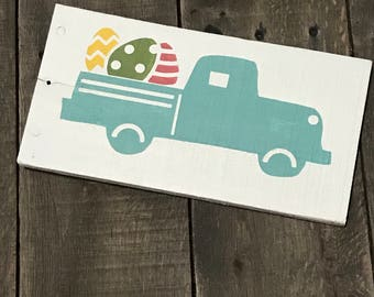 Aqua Easter Truck, Aqua truck, Easter, Vintage Truck Decor, spring signs Easter decor, Easter sign, spring decor, Spring on reclaimed wood,