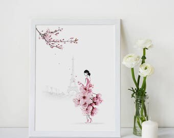 Paris Print, Cherry Blossom, Flower Illustration Print, Home Decor, Gift for Her, Flower Photography, Sassy Du Fleur, Wall Art, A4,A3,Print