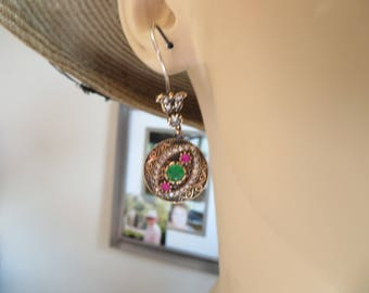 Art Deco Inspired Rose Gold/925 Sterling Silver 2.30ctw Emerald, Ruby & White Sapphire Dangle Earrings, Wt. 12.1 G