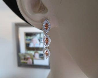 Genuine 2.00ctw Padparadscha Orange Sapphire & White Topaz 925 Sterling Silver Post Dangle Earrings, 2.16 Grams,