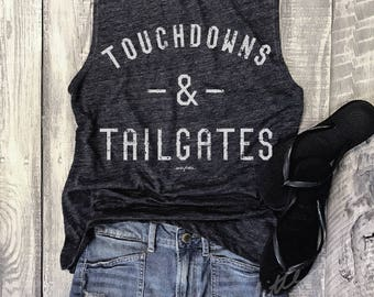 FOOTBALL Touchdowns & Tailgates....Muscle Tee in Charcoal/Ivory Workout Top, Muscle Tank, Football Mom, Game On, Game Day