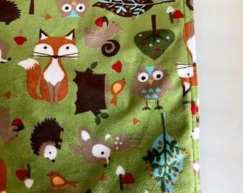Outdoor Blanket, Reversible, Baby Blanket, Soft Waterproof Blanket, Outdoor Baby Blanket, Woodland, Forest Animals