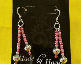 """METAL BALL EARRINGS - Purple and Pink Glass Beads w/ Metal Balls on Sterling Silver Clad Fish Hook Wire - 1.5"""" Long"""