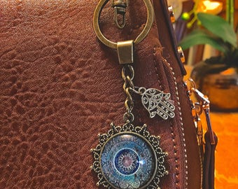 Boho Bronze Hamsa Blue Keychain