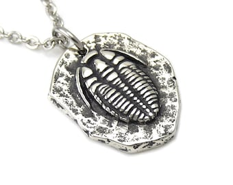 Trilobite Necklace in Handmade Pewter Fossil Jewelry Archaeology Charm