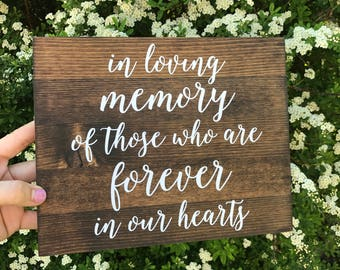 In Loving Memory Sign, In loving memory wedding sign, in loving memory, wood signs, wood in loving memory sign - Elizabeth Collection