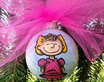 Sally Brown Ornament, hand drawn, hand made, hand painted, peanuts, Schroeder, lucy, linus snoopy woodstock cartoon, Charlie brown christmas