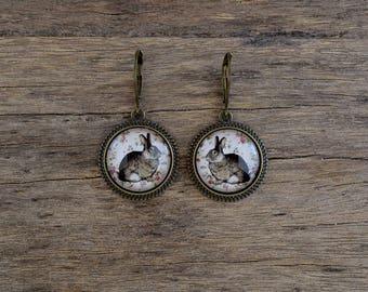 Bunny earrings, Rabbit earrings, Easter earrings, Bunny jewelry, Hare earrings, Woodland earrings, Spring earrings, Animal earrings WJ 002