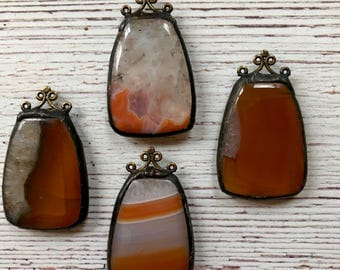 Orange Focal ,Hand Soldered Pendant
