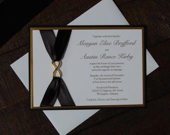 Black and Gold Wedding Invitation, Infiniti Wedding Invitation, Black Wedding Invitation, Gold Wedding Invitation, Gold foil Invitation