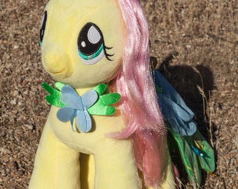 Fluttershy Plushie-Fluttershy Plushie-Glowing in Dark-Night Light-Light Up-My Little Pony-Fan Art-Upcycle