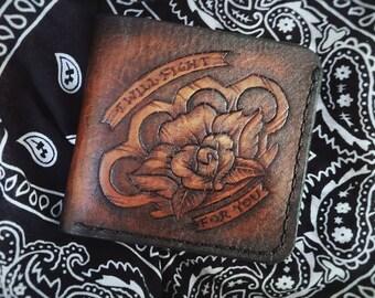 Rose & Duster Handmade Full Grain Leather Wallet Men Womens Wallet Women Leather Bifold Wallet Mens Bifold Wallet Mens Wallet
