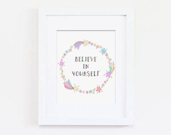 Rainbow Nursery Theme, Pastel Nursery Art Print, Believe in Yourself Art Quote, Girls Inspirational Art, Shooting Star Art Print, Wreath Art