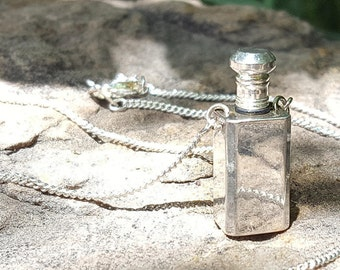 "Silver PERFUME VIAL Necklace~Precious Oils~Love Potion~Silverplated Perfume Bottle~Top Unscrews for Precious Oils~24"" Chain~JewelsandMetals."
