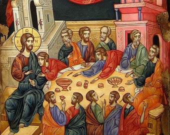 The Last Supper, Hand painted orthodox icon, Byzantine orthodox icon, Orthodox art, Made to order