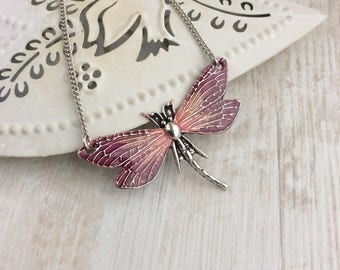 Pink Dragonfly Necklace. Large Pink Dragonfly Pendant. Bright Necklace. Delicate Necklace. Insect Lover Gift. Dragonfly Lover Gift. Unique
