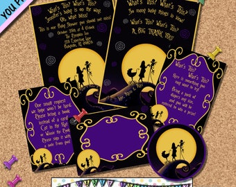 Nightmare before Christmas BABY SHOWER INVITATION Package Invites Halloween Horror Movies Other Party Supplies Sold Seperately