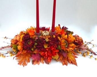 Fall Centerpiece Dining Table Autumn Thanksgiving Arrangement
