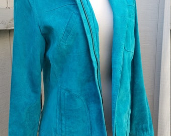 Turquoise 100% Leather Suede 1970s Western Jacket