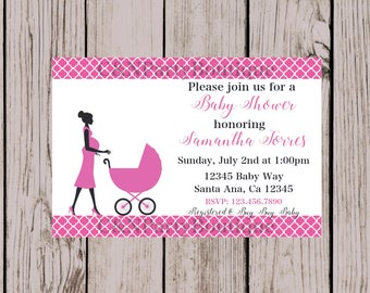 Digital Pink Baby Carriage Baby Shower Invitation