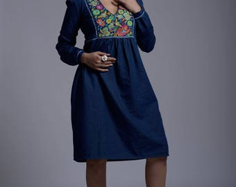 Embroidered Knee Length Women's Dress in Dark Blue Denim with Long Sleeves