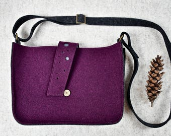 Purple Handbag, Made to Order Felt Handbag, Felt Purse, Purple Felt Bag, Crossbody Bag, Wool Handbag, Wool Felt Bag, Purple Wool Felt
