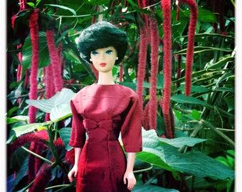 Barbie Clothes, Barbie Doll Clothes, Barbie Vintage, Vintage Barbie, Barbie Dress, Barbie Handmade, Silkstone Barbie, Red Silk Barbie Dress