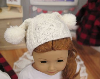 Newly Released! 18 Inch Doll Cabled Pom-Pom Hat- Hand-knit White Doll Hat - Winter/Holiday Doll Clothes - American Made Girl Doll Clothes
